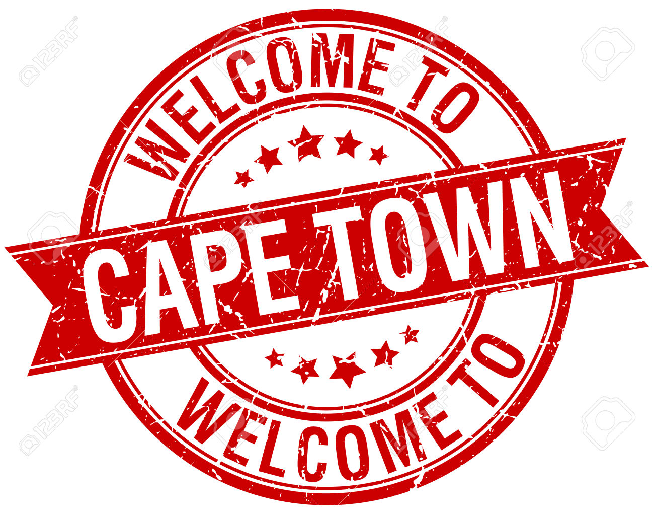 Welcome To Cape Town Red Round Ribbon Stamp Royalty Free Cliparts.