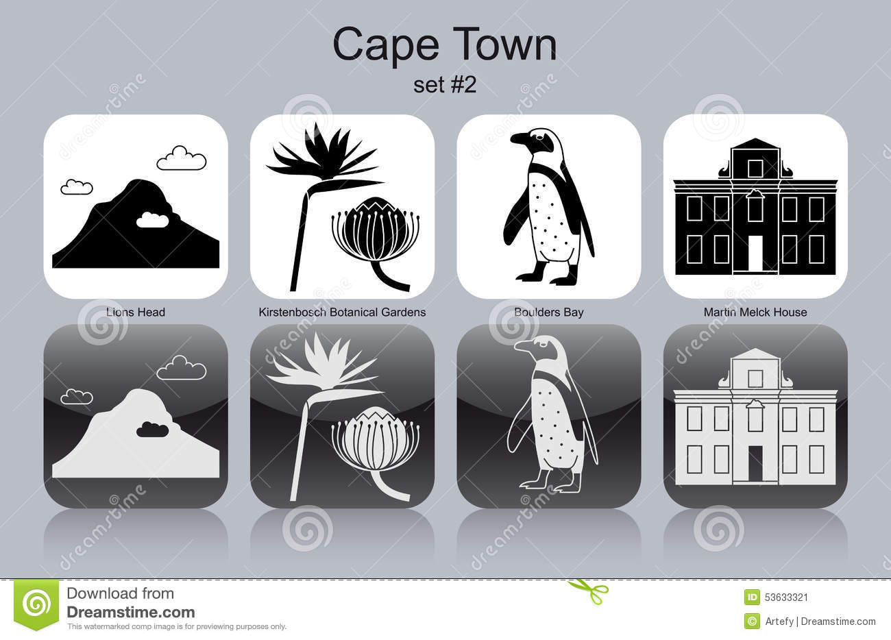 Icons Of Cape Town Stock Vector.