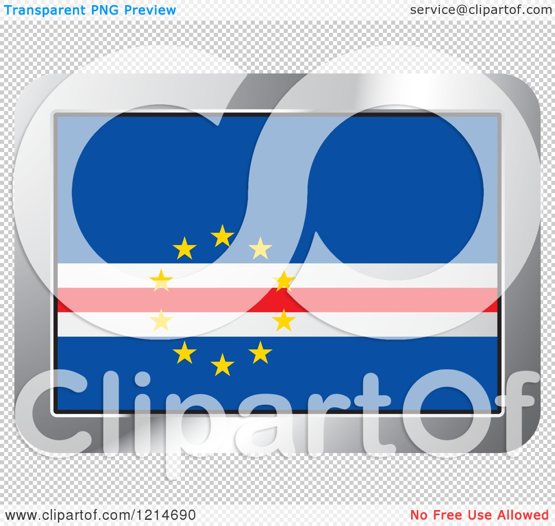 Clipart of a Cape Verde Flag and Silver Frame Icon.