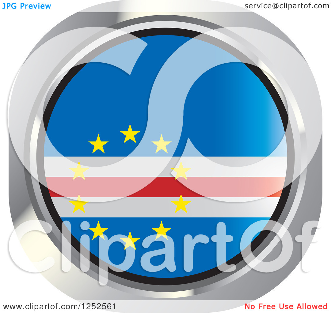Clipart of a Round Cape Verde Flag Icon.