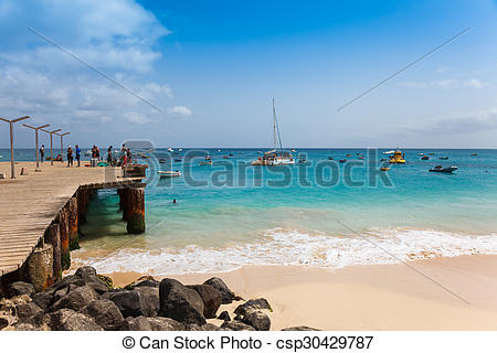 Pictures of Santa Maria beach pontoon in Sal Island Cape Verde.