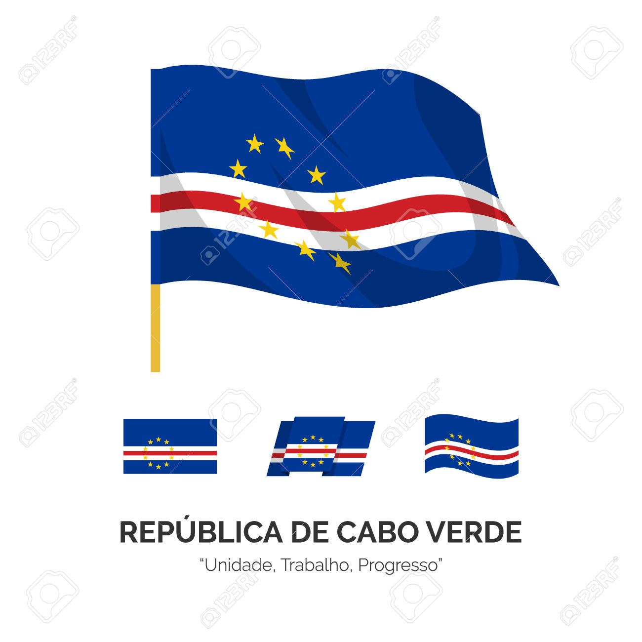 The National Flag Of The Republic Of Cape Verde. The Cape Verde.