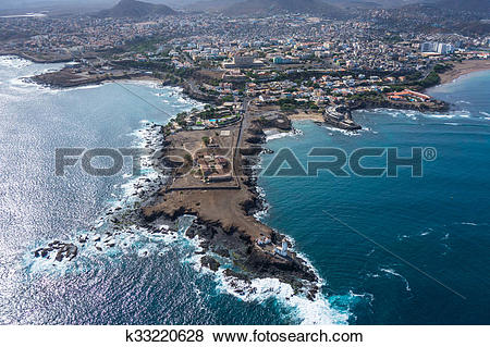 Pictures of Aerial view of Praia city in Santiago.