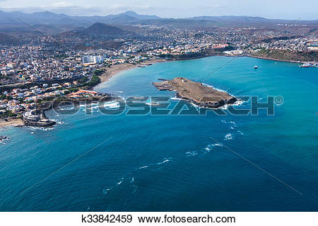 Stock Photograph of Aerial view of Praia city in Santiago.