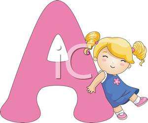 A Girl Standing Next To a Capital A.