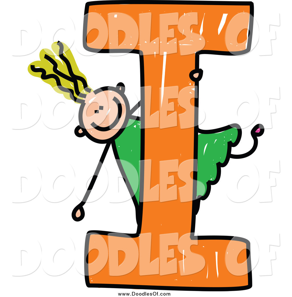 Vector Clipart of a Blond Doodled Girl Playing on Capital Letter I.