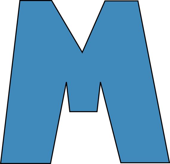 Blue Alphabet Letter M Clip Art Image Large Blue Capital Letter M.