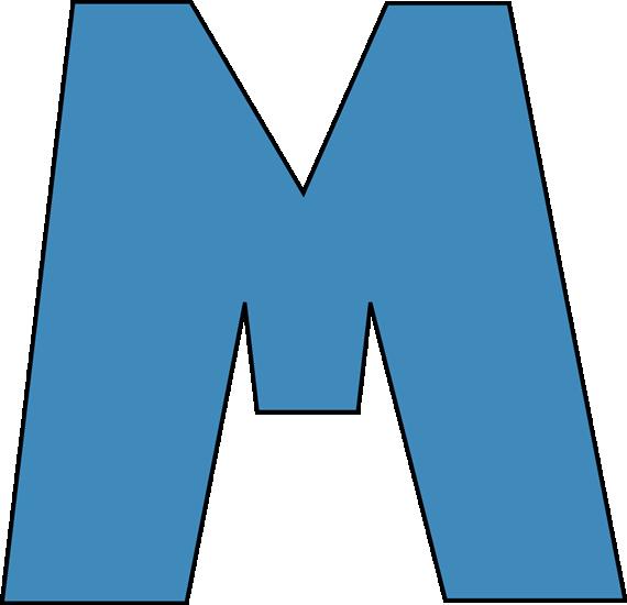 Blue Alphabet Letter M Clip Art Image Large Blue Capital Letter M.