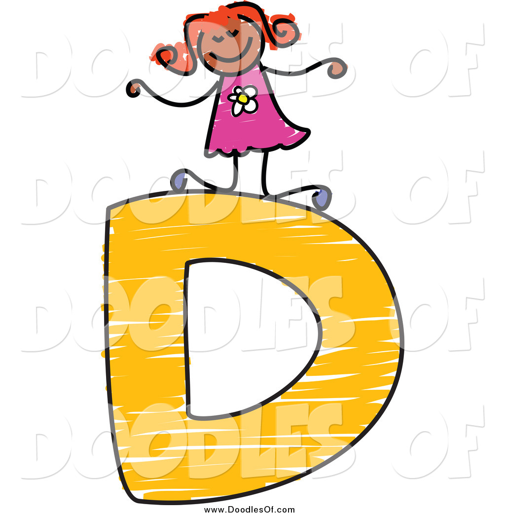 Vector Clipart of a Happy Doodled Black Stick Girl on a Capital.
