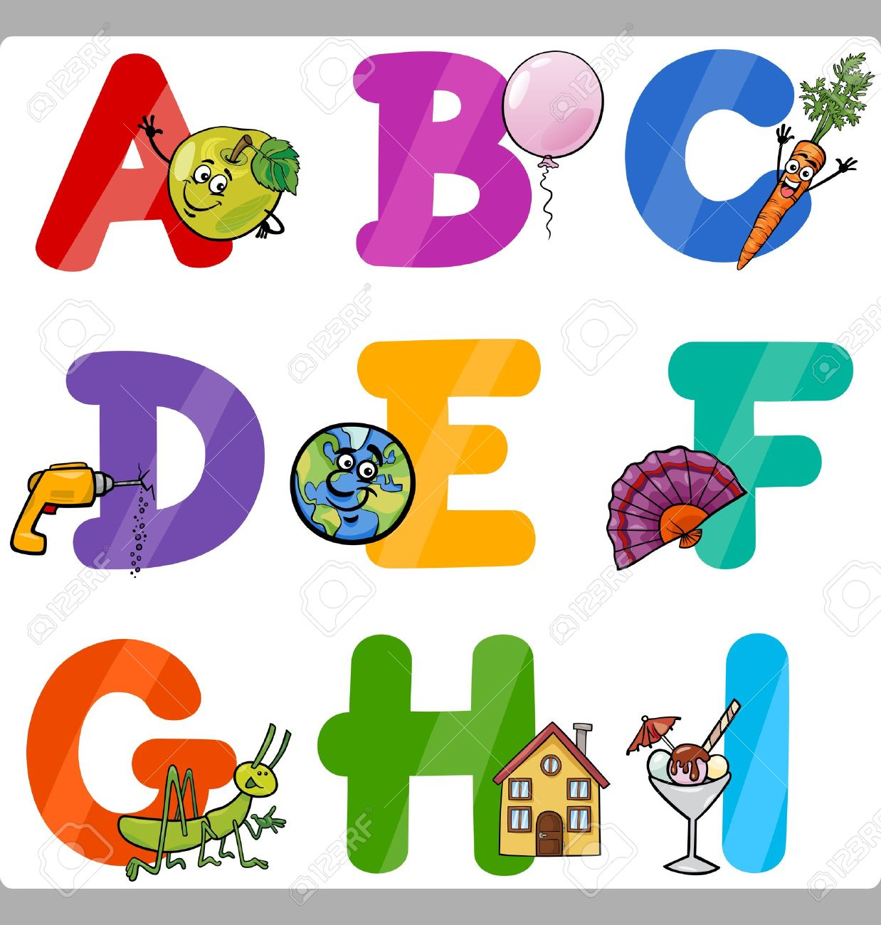 Cartoon Illustration Of Funny Capital Letters Alphabet With.