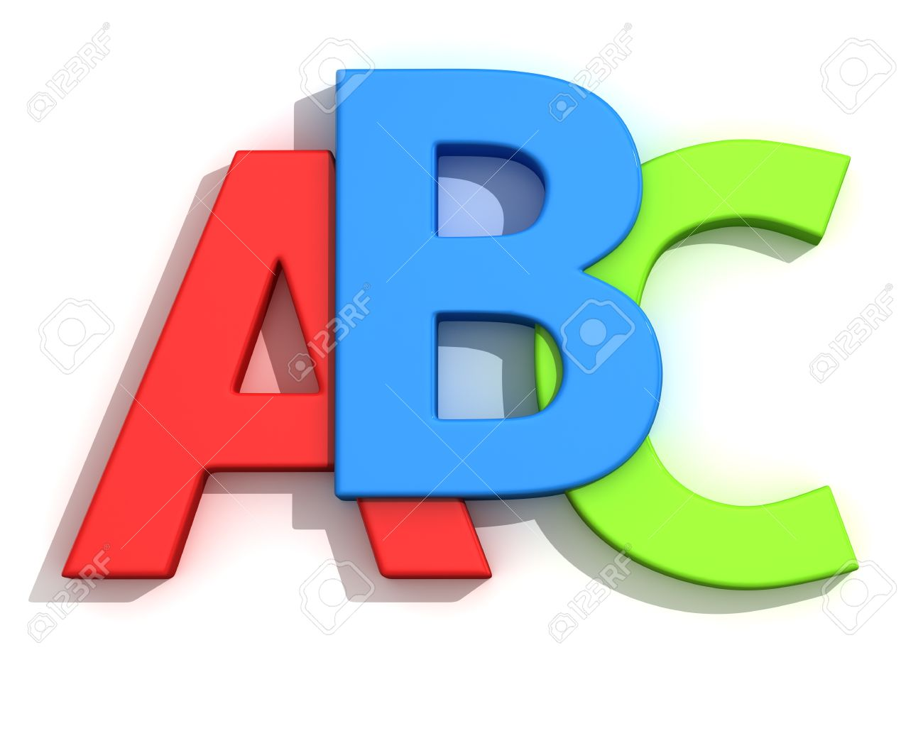 Capital letters A, B, C on the white background.