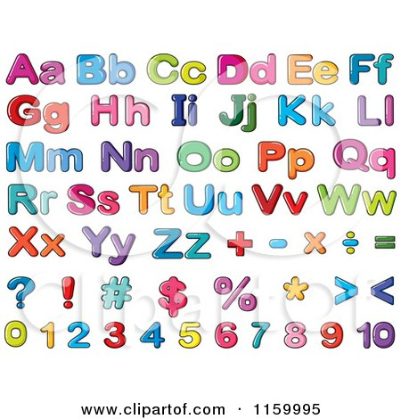 Cartoon of Colorful Lowercase and Capital Letters Numbers and.