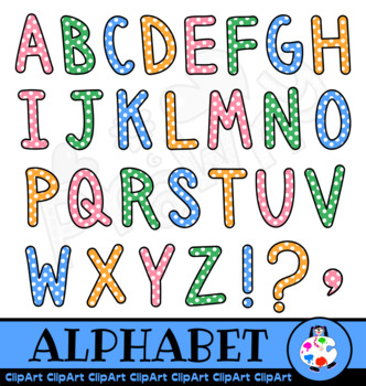Polka Dot Capital Letter Alphabet Clip Art.
