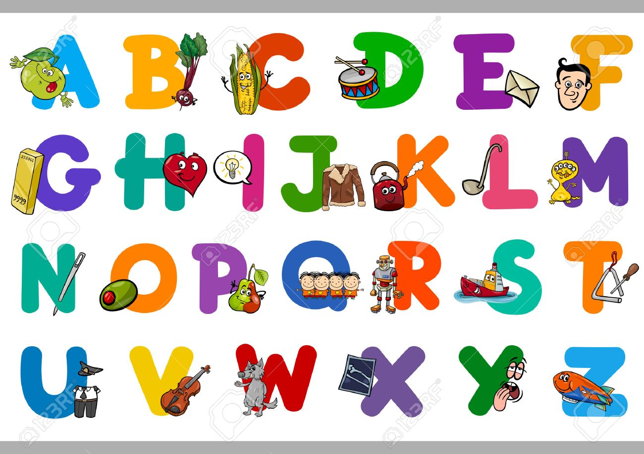 Cartoon Illustration of Capital Letters Alphabet Set with Objects...