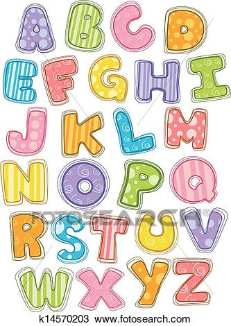 Cute Alphabet Capital Letters Clipart.