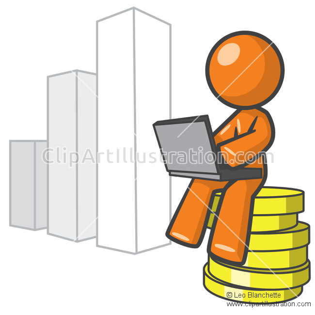 ClipArt Illustration Orange Man Stock Market Technical Analysis.