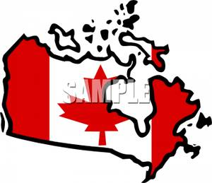 Canadian Flag and a Map of Canada.