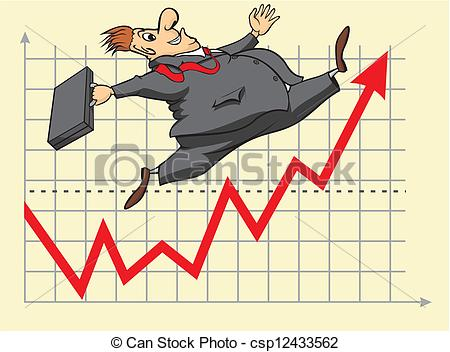 Clip Art Vector of lucky stock market investor.
