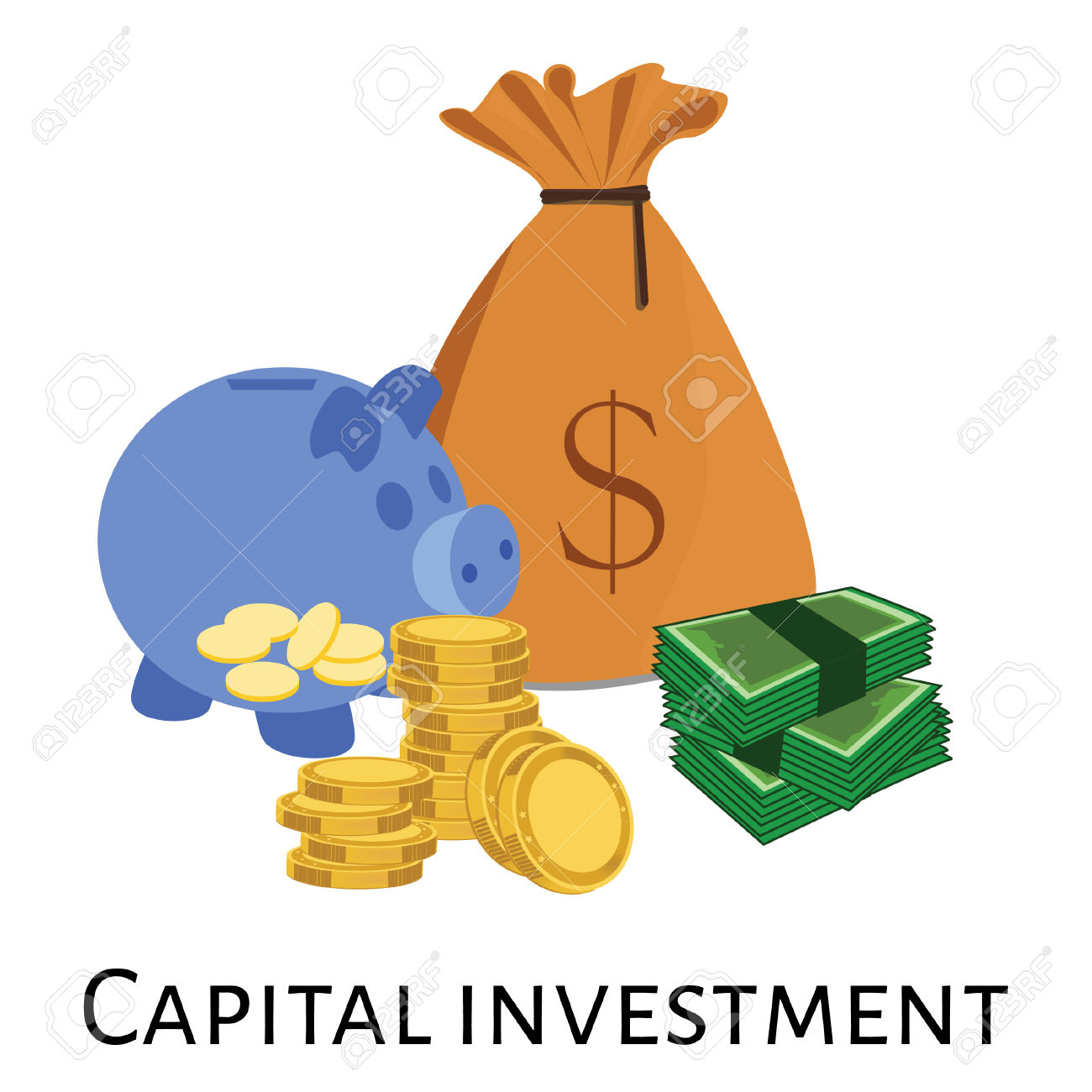 Vector Illustration Of Capital Investment. Investment Concept.