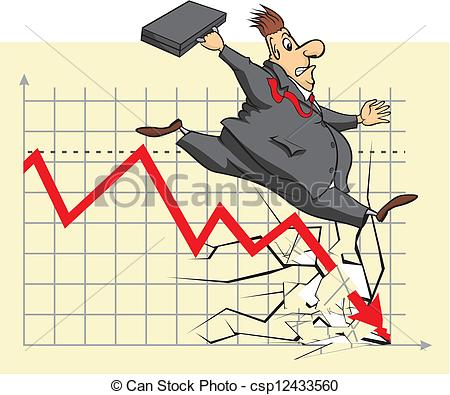 Clip Art Vector of unhappy stock market investor.