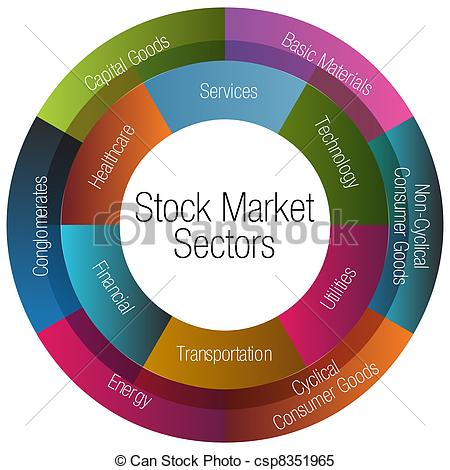 Clipart Vector of Stock Market Sectors Chart.