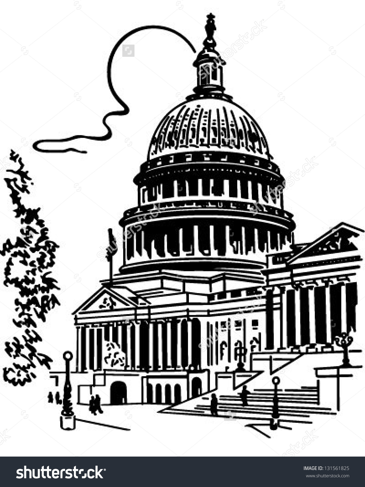 Us Capitol Building Retro Clip Art Stock Vector 131561825.