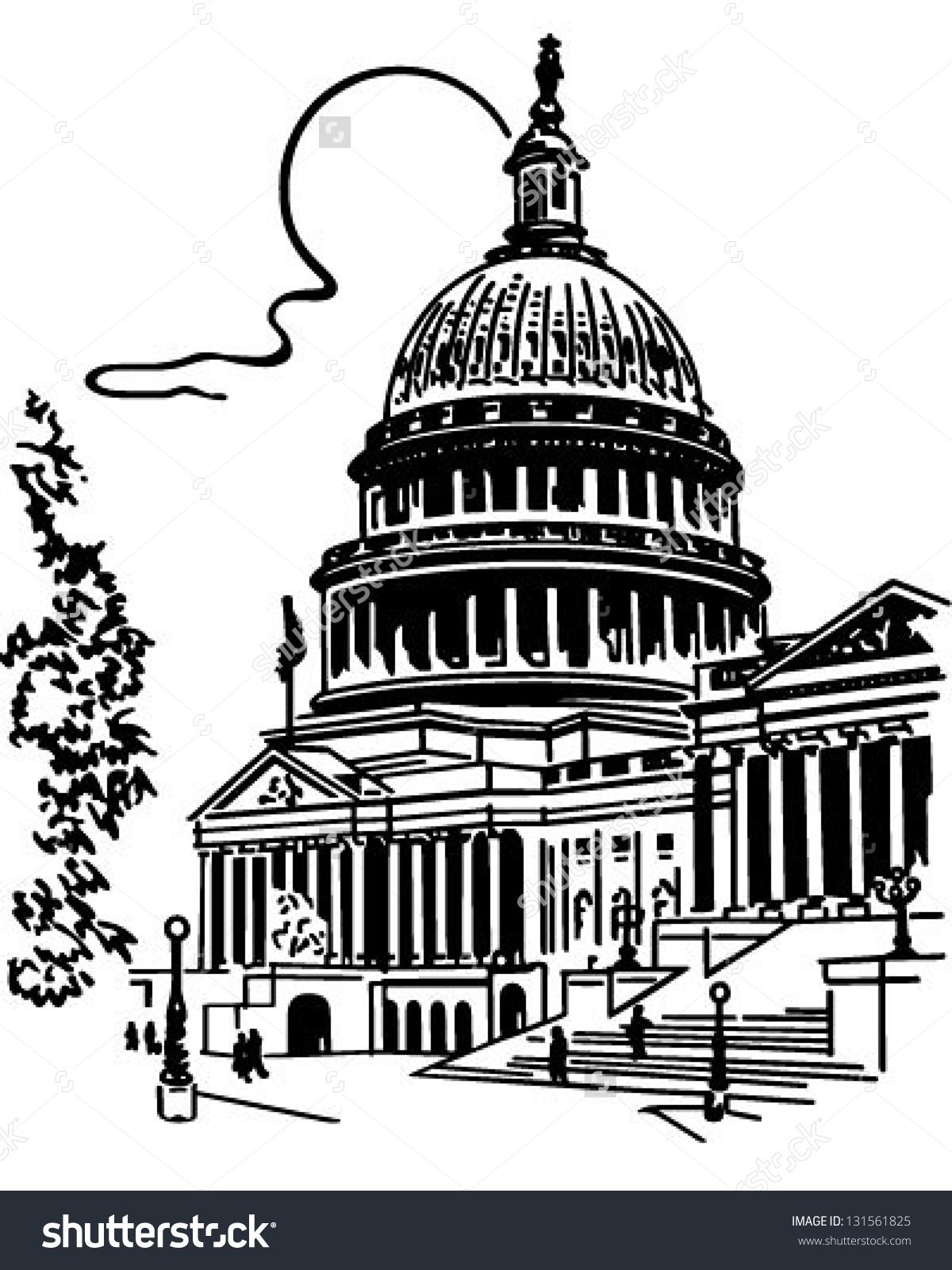 Us Capitol Building Retro Clip Art Stock Vector 131561825.