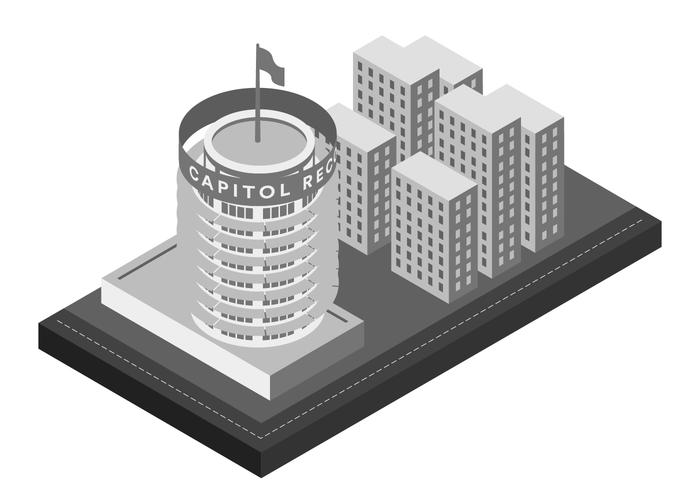 capitol record landmark building isometric illustration.