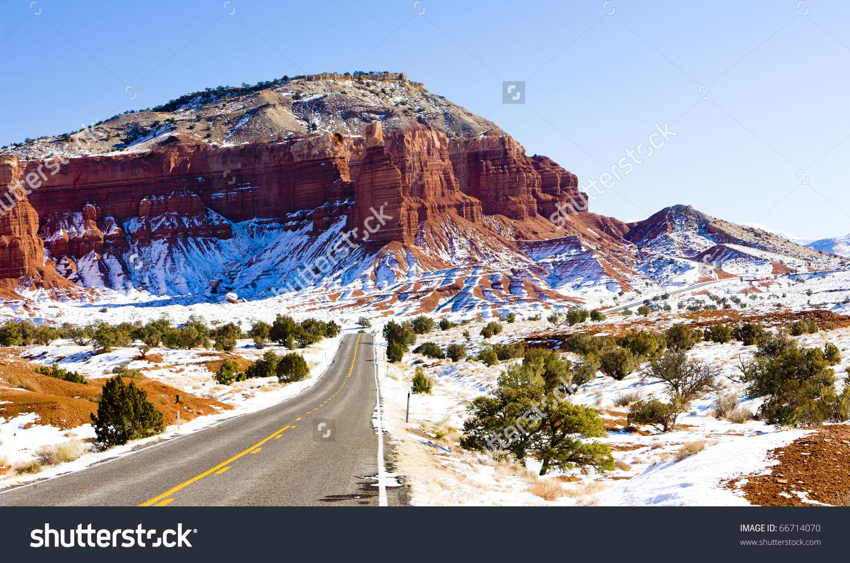 Capitol Reef National Park Winter Utah Stock Photo 66714070.