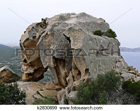Stock Photograph of Capo d'Orso, Landmark Tafoni.
