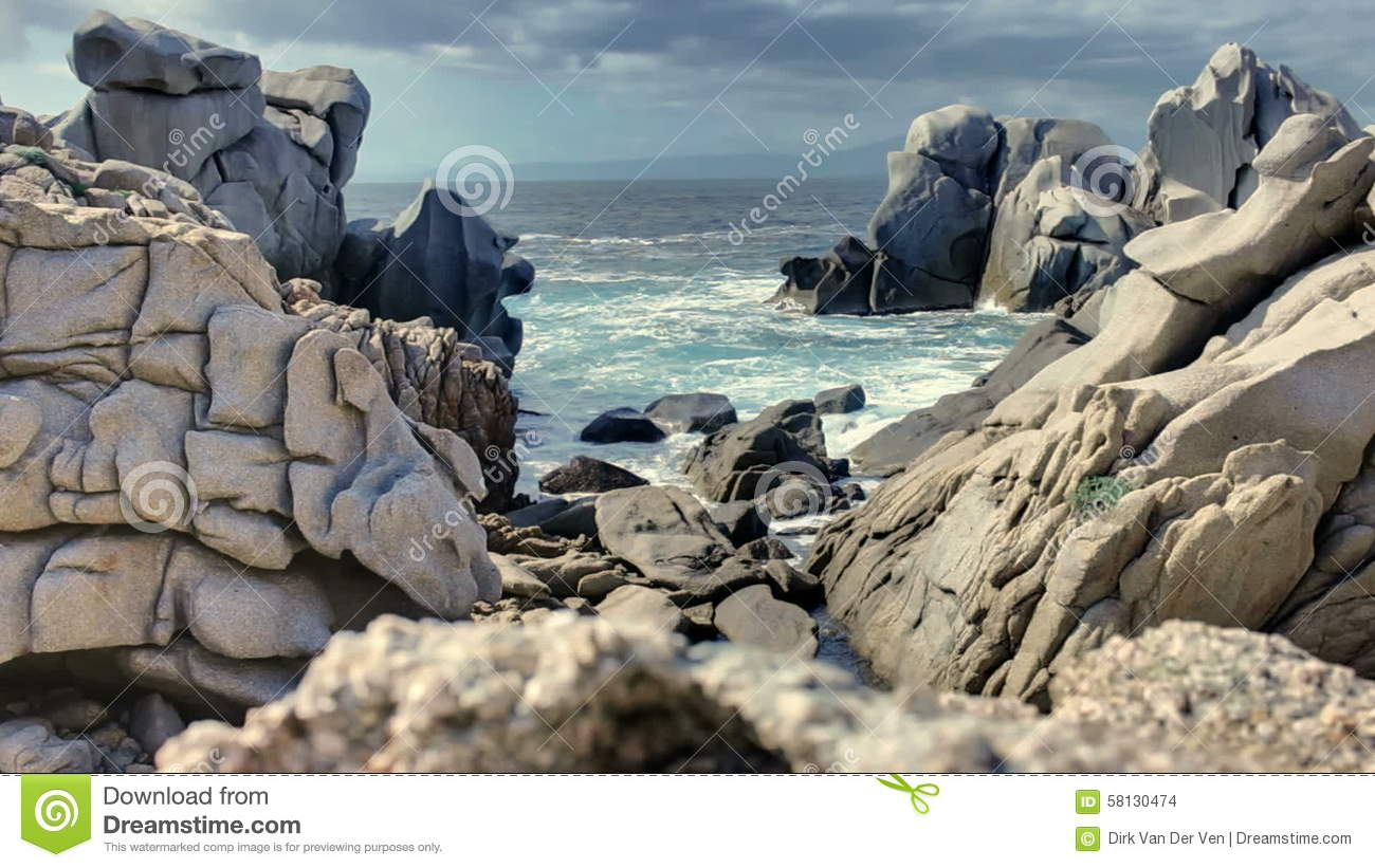 Capo Testa Granite Rock Coast Sardinia Italy Stock Footage.
