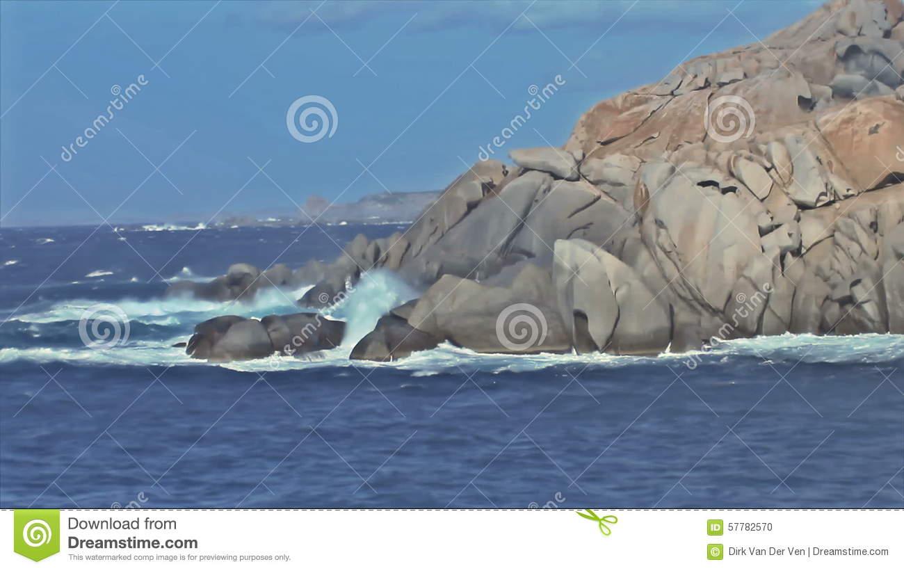 Mistral Wind Formed Granite Rock Shore Capo Testa Sardinia Italy.