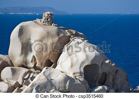 Stock Photography of Small Nuragh Above The Sea.