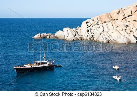Stock Photos of Yacht At Capo Testa, Sardinia.
