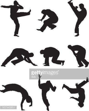 Man practicing capoeira Clipart Image.