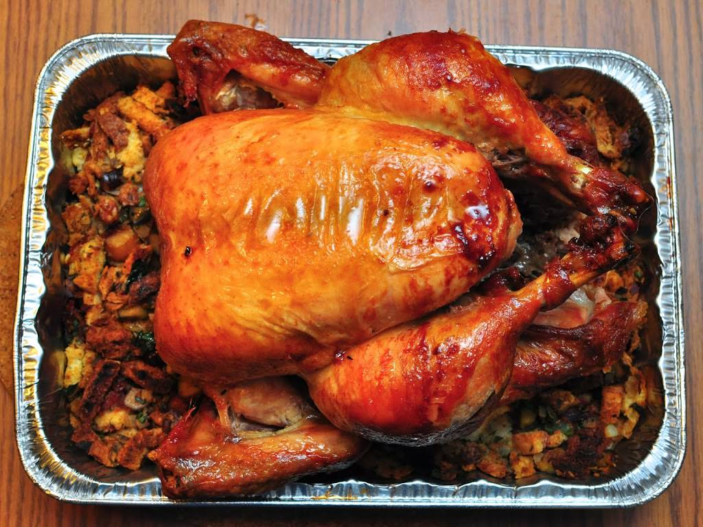 Rotisserie Capon with Chestnut Stuffing.
