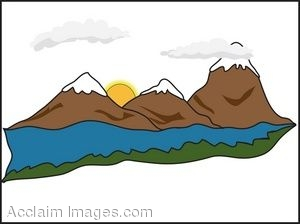 capped mountains. Clip art.