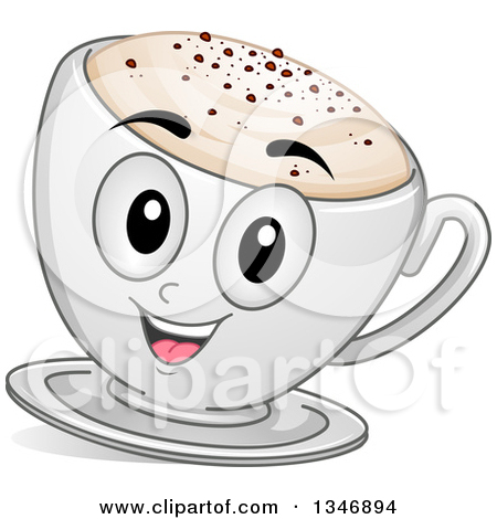 Clipart of a Cartoon Cappuccino Coffee Character.