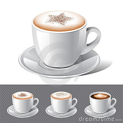 Latte, Mocha, Cappuccino And Espresso Coffee Stock Photo.