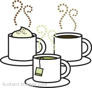 Clip Art of Coffee, Tea and Cappuccino.