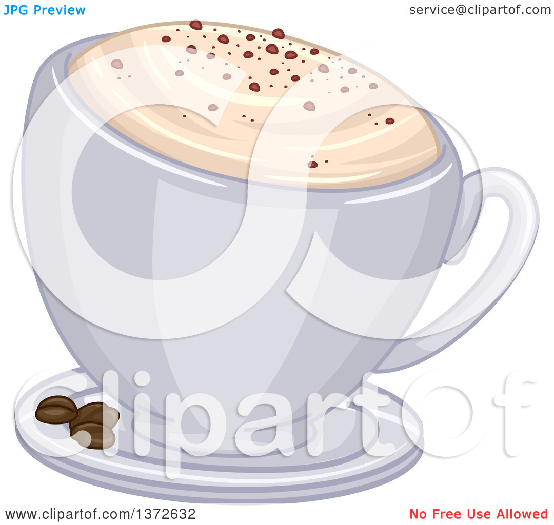 Clipart of a Frothy Cup of Cappuccino Coffee and Beans on a Saucer.