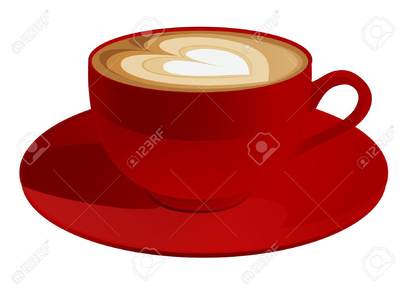 Red Cup Of Cappuccino With Heart Symbol Coffee Vector Illustration.