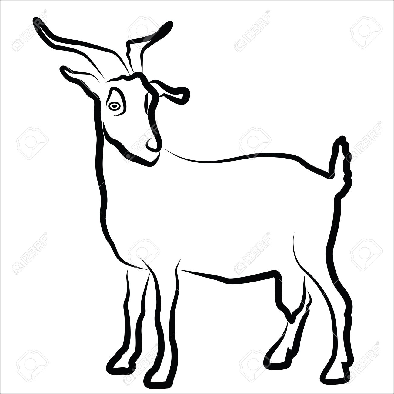 Goat Silhouette Isolated On White Royalty Free Cliparts, Vectors.