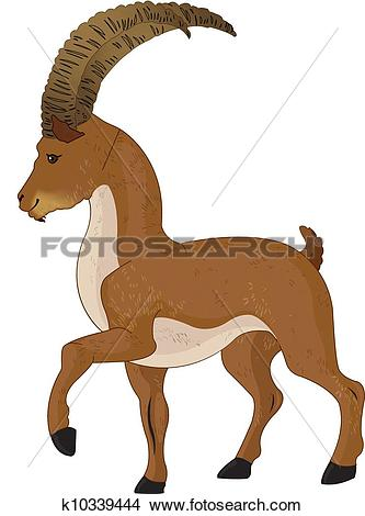 Clipart of Wild Goat or Capra aegagrus, illustration k10339444.