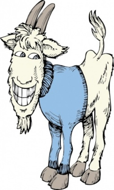 funny goat in a sweater clip art.