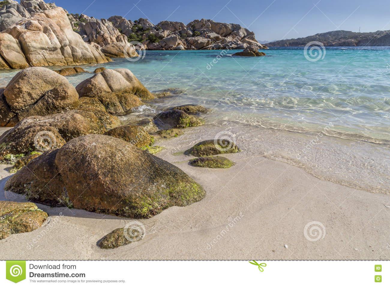 Beautiful Beach On Bay Of Cala Coticcio In Caprera Island.
