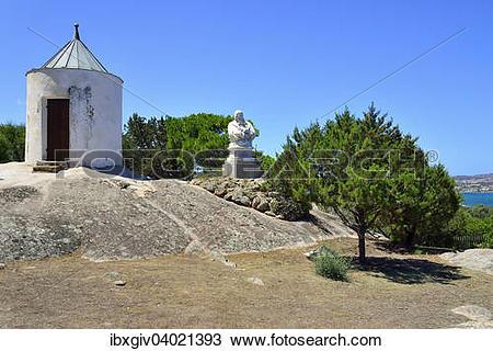 "Stock Photo of ""Guard shack and bust of Giuseppe Garibaldi at his."