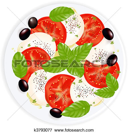 Clip Art of Caprese Salad With Mozzarella, Basil, Black Olives.