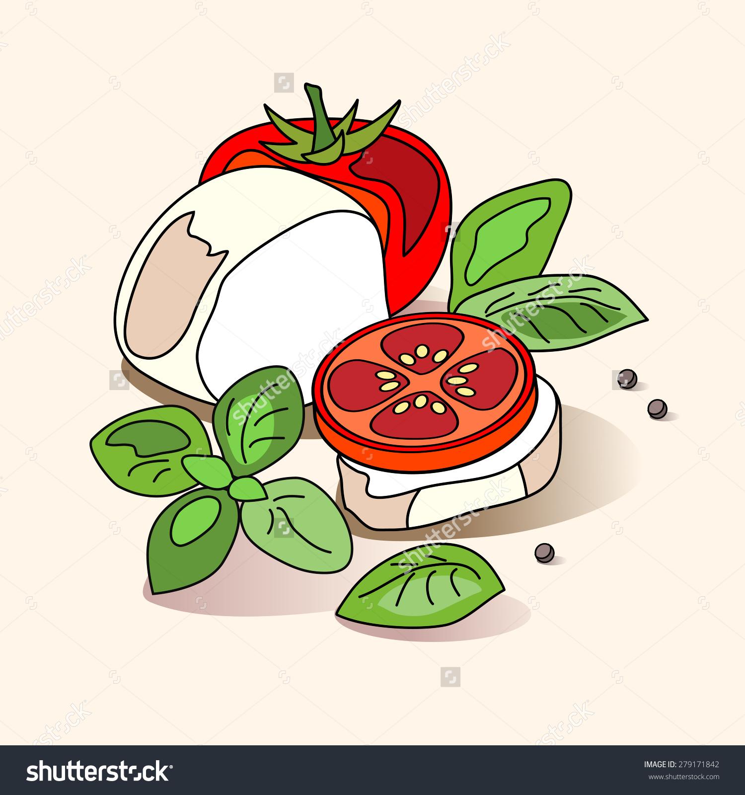 Caprese Salad Set Mozzarella Tomato Basil Stock Vector 279171842.