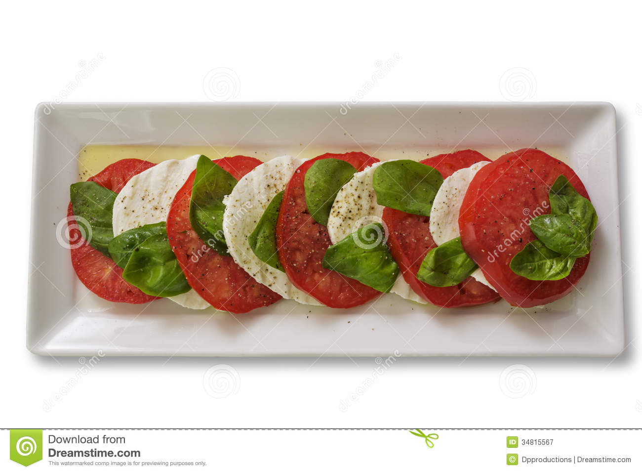 Caprese Salad On A White Plate Royalty Free Stock Photography.
